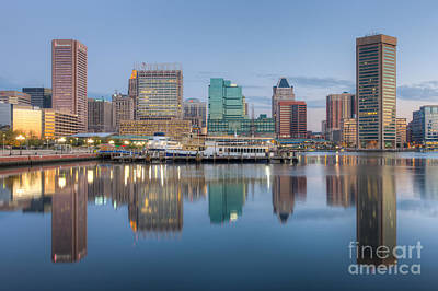 Baltimore Inner Harbor Skyline At Dawn I Poster by Clarence Holmes