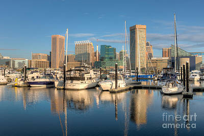 Baltimore Inner Harbor Skyline I Poster by Clarence Holmes