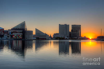 Baltimore Inner Harbor Sunrise I Poster by Clarence Holmes