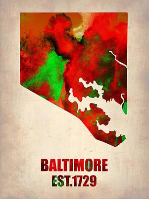 Baltimore Watercolor Map Poster