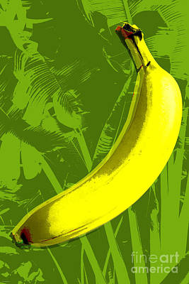 Poster featuring the digital art Banana Pop Art by Jean luc Comperat