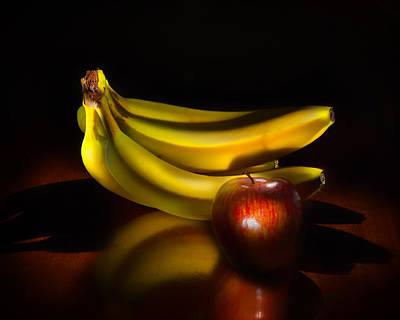Bananas And Apple Still Life Poster