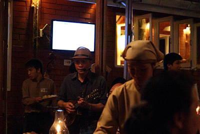 Band At Palaad Tawanron Restaurant - Chiang Mai Thailand - 01134 Poster