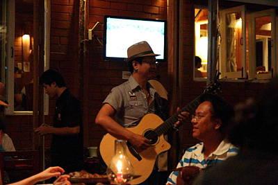 Band At Palaad Tawanron Restaurant - Chiang Mai Thailand - 01136 Poster by DC Photographer