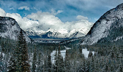 Banff Springs Valley In Winter Poster