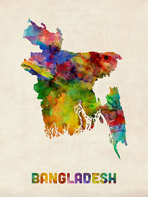 Bangladesh Watercolor Map Poster by Michael Tompsett