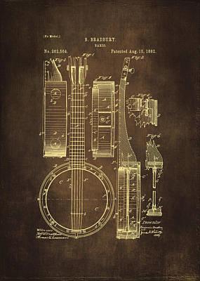 Banjo Patent Drawing - Brown Poster