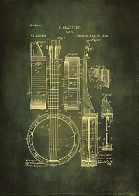 Banjo Patent Drawing - Cyan Poster