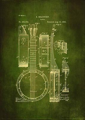 Banjo Patent Drawing - Green  Poster
