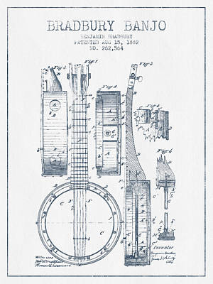 Banjo Patent Drawing From 1882 - Blue Ink Poster by Aged Pixel