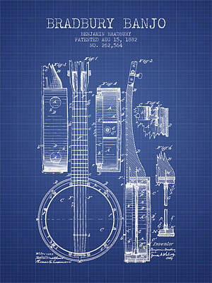 Banjo Patent Drawing From 1882 - Blueprint Poster