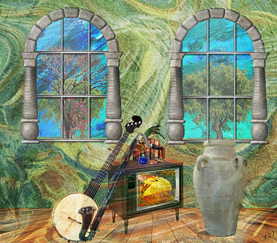 Poster featuring the mixed media Banjo Room by Ally  White