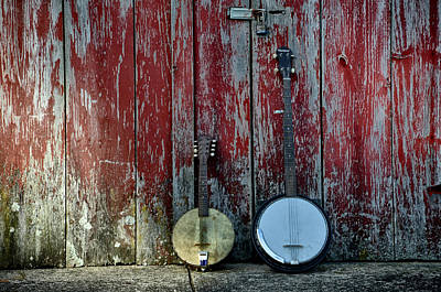 Banjos Against A Barn Door Poster by Bill Cannon