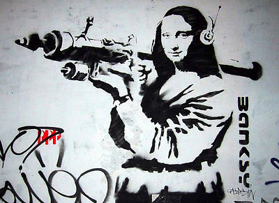 Banksy Mona Lisa With Rocket Launcher Poster by Graffiti Street Art