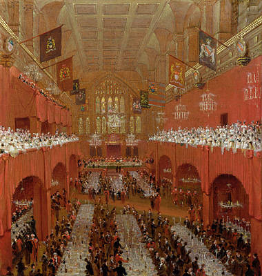 Banquet At Guildhall, 18th June 1814, 1815 Oil On Canvas Poster by William Daniell