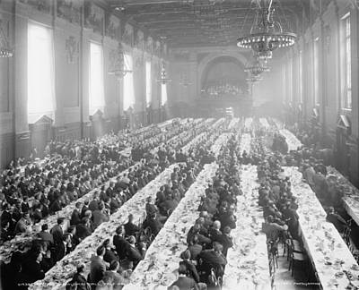 Banquet In Alumni Hall [i.e., University Commons], Yale College, Connecticut, C.1900-06 Bw Photo Poster
