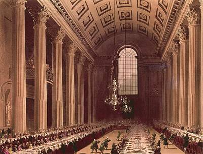 Banquet Scene In The Egyptian Hall Poster by Everett