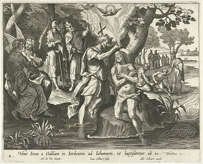 Baptism Of Christ, Jan Collaert II, Adriaen Collaert Poster by Jan Collaert (ii) And Adriaen Collaert