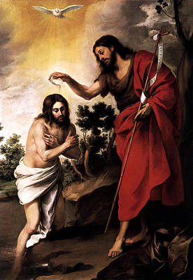 Poster featuring the digital art Baptism Of Jesus Christ by Esteban Murillo