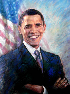 Poster featuring the drawing Barack Obama by Viola El