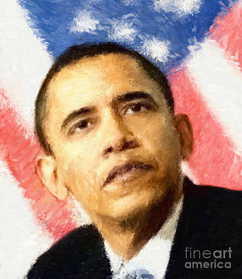 Barack Obama Impressionist Style Poster by Giuseppe Persichino
