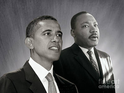 Poster featuring the photograph Barack Obama  M L King  by Martin Konopacki Restoration