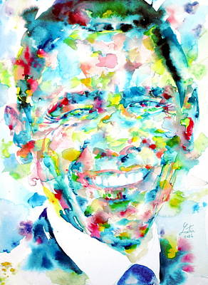 Barack Obama - Watercolor Portrait Poster by Fabrizio Cassetta