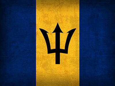 Barbados Flag Vintage Distressed Finish Poster by Design Turnpike