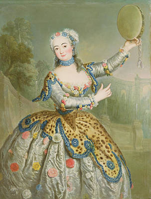 Barbara Campanini Oil On Canvas Poster by Antoine Pesne