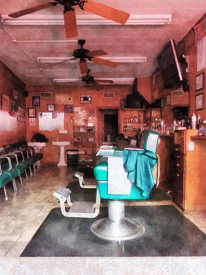 Barber - Barber Shop With Green Barber Chairs Poster by Susan Savad