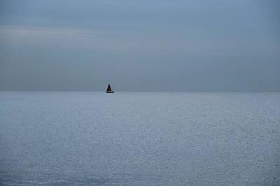 Lonely Boat In Barcelona  Poster