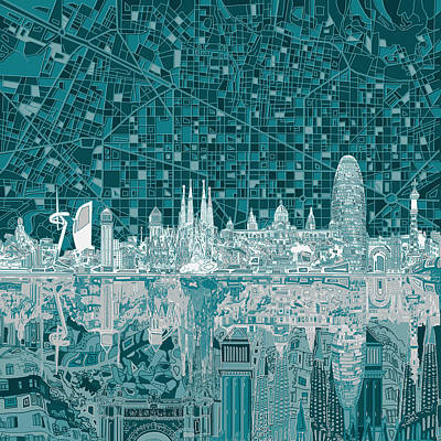 Barcelona Skyline Abstract 5 Poster by Bekim Art
