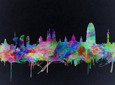 Barcelona Skyline Watecolor 2 Poster