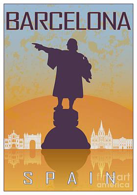 Barcelona Vintage Poster Poster