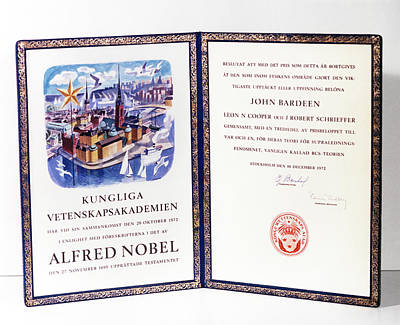 Bardeen Cooper And Schrieffer Nobel Prize Poster by Emilio Segre Visual Archives/american Institute Of Physics