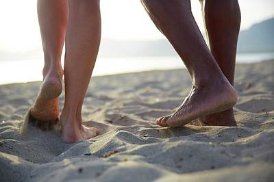 Barefoot Couple On Beach Poster by Ruth Jenkinson