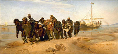 Barge Haulers On The Volga Poster by Ilya Efimovich Repin