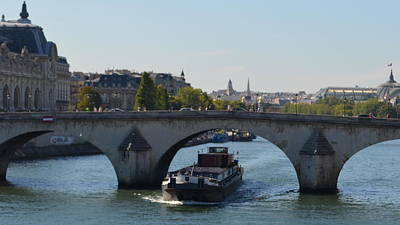 Barge On River Seine Poster by Cheryl Miller