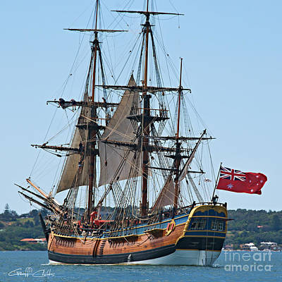 Bark Endeavour- At The Ran Centenary Celebrations 2013. Poster by Geoff Childs