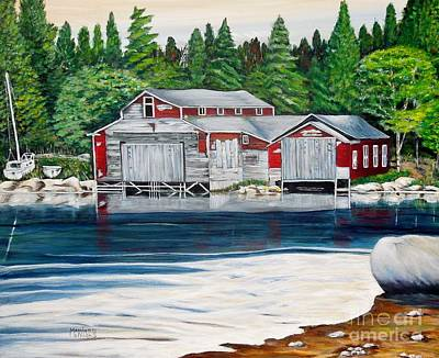 Barkhouse Boatshed Poster by Marilyn  McNish