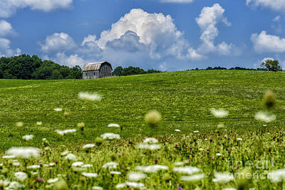 Barn Clouds And Pasture Poster by Thomas R Fletcher