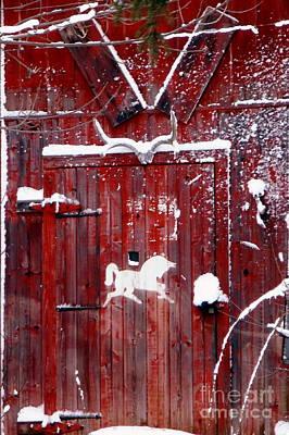 Barn Door In Winter Poster