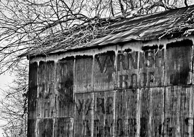 Poster featuring the photograph Barn Ghost Sign In Bw by Greg Jackson