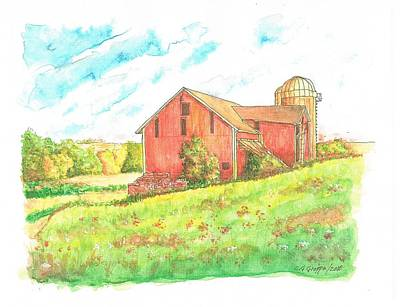 Barn In Cornfield, Wisconsin Poster