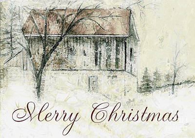 Barn In Snow Christmas Card Poster by Claire Bull