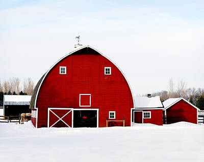 Barn In Snow Poster