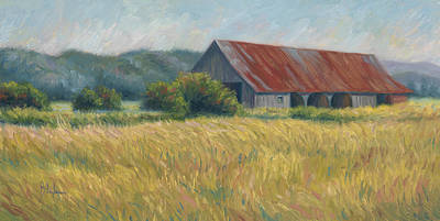 Barn In The Field Poster by Lucie Bilodeau