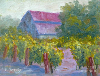 Barn In Vineyard Poster by Carolyn Jarvis