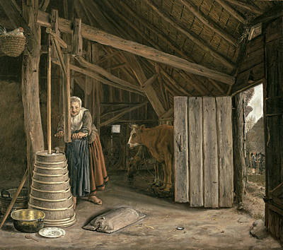 Barn Interior With A Maid Churning Butter Oil On Canvas Poster