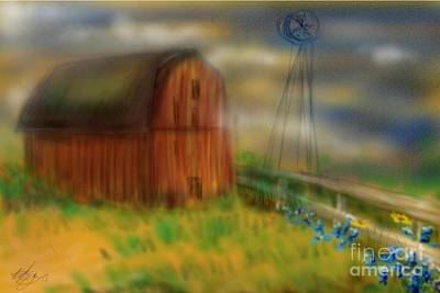 Poster featuring the painting Barn by Marisela Mungia